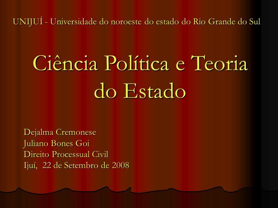 Ciência Política e Teoria do Estado Dejalma Cremonese Juliano Bones Goi Direito Processual Civil Ijuí, 22 de Setembro de 2008 UNIJUÍ - Universidade do noroeste do estado do Rio Grande do Sul