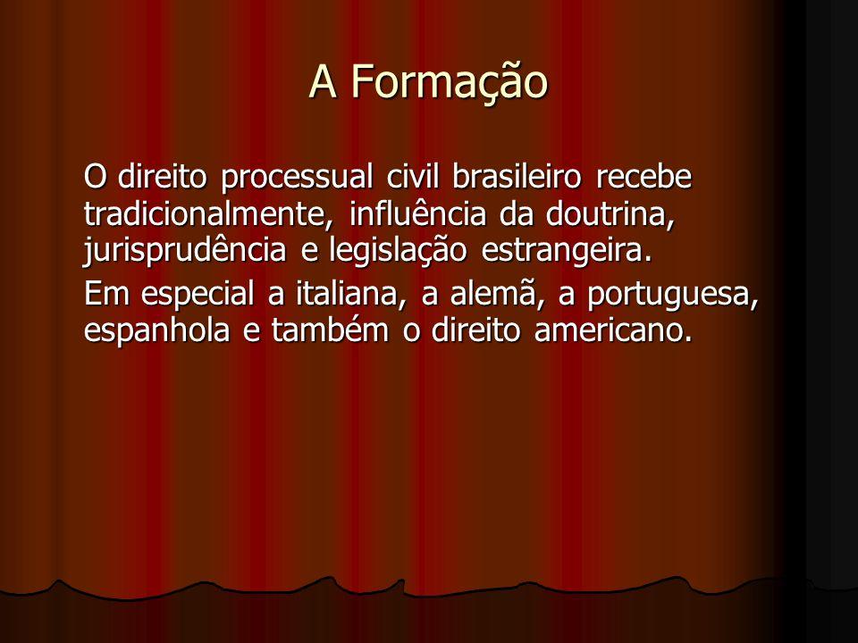 A Formação O direito processual civil brasileiro recebe tradicionalmente, influência da doutrina, jurisprudência e legislação estrangeira.