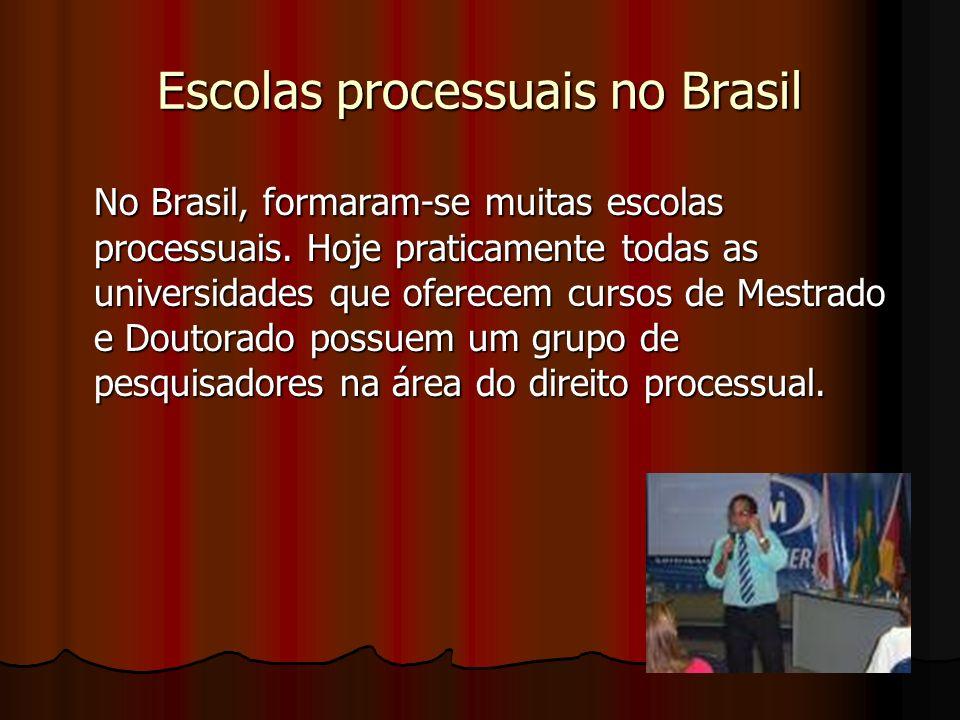 Escolas processuais no Brasil No Brasil, formaram-se muitas escolas processuais.