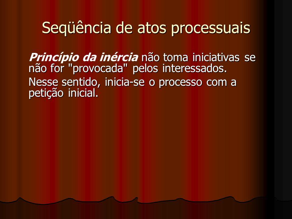 Seqüência de atos processuais não toma iniciativas se não for provocada pelos interessados.