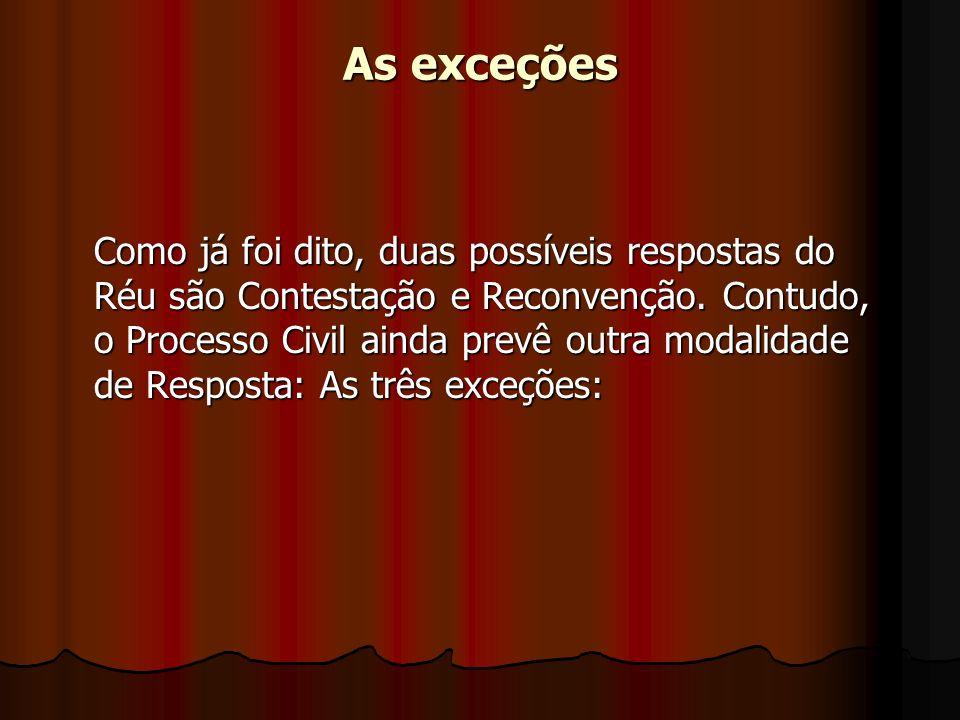 As exceções Como já foi dito, duas possíveis respostas do Réu são Contestação e Reconvenção.