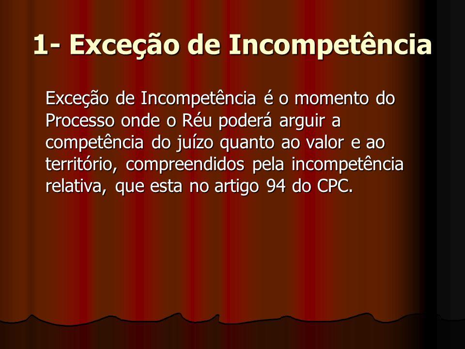 1- Exceção de Incompetência Exceção de Incompetência é o momento do Processo onde o Réu poderá arguir a competência do juízo quanto ao valor e ao território, compreendidos pela incompetência relativa, que esta no artigo 94 do CPC.