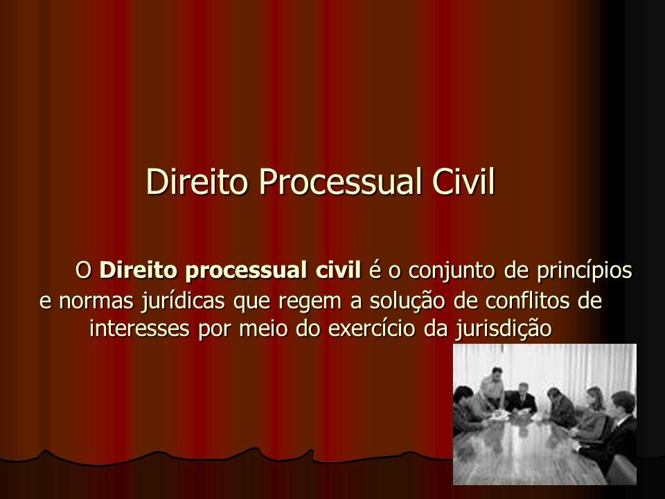 Direito Processual Civil O Direito processual civil é o conjunto de princípios e normas jurídicas que regem a solução de conflitos de interesses por meio do exercício da jurisdição