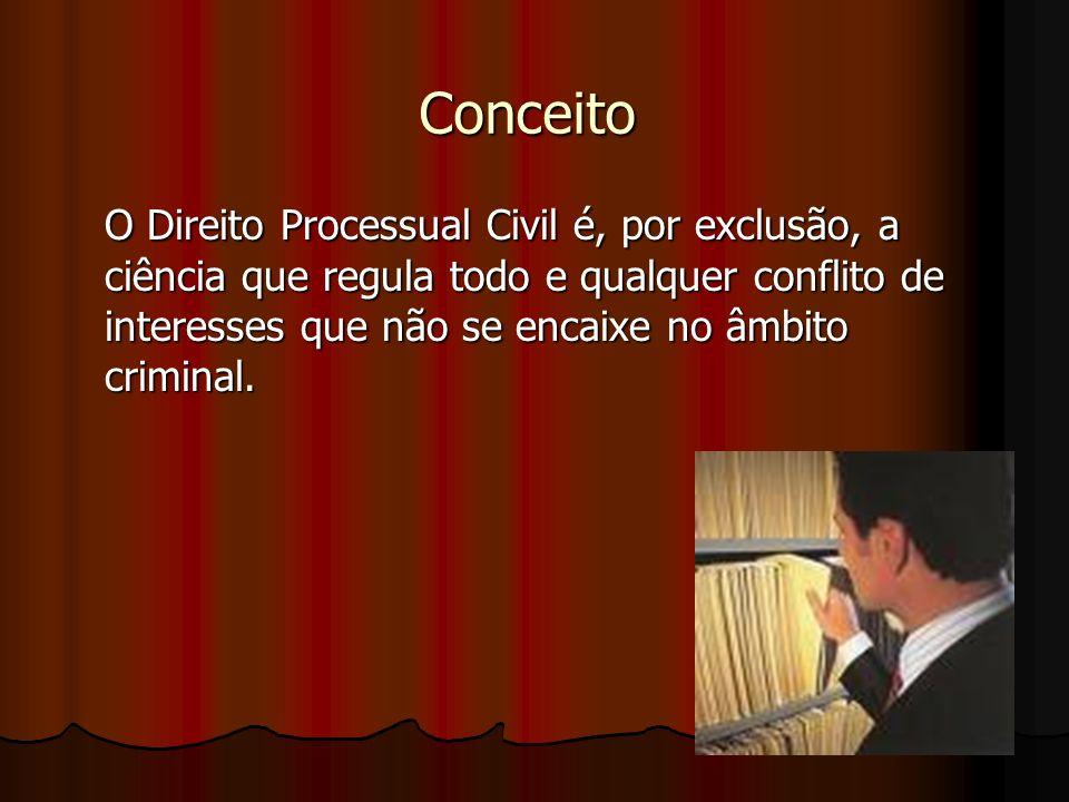 Conceito O Direito Processual Civil é, por exclusão, a ciência que regula todo e qualquer conflito de interesses que não se encaixe no âmbito criminal.