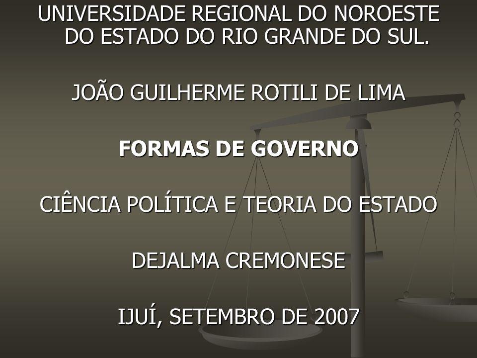 UNIVERSIDADE REGIONAL DO NOROESTE DO ESTADO DO RIO GRANDE DO SUL. JOÃO GUILHERME ROTILI DE LIMA FORMAS DE GOVERNO CIÊNCIA POLÍTICA E TEORIA DO ESTADO