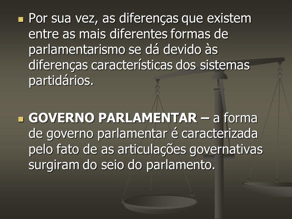 Por sua vez, as diferenças que existem entre as mais diferentes formas de parlamentarismo se dá devido às diferenças características dos sistemas part