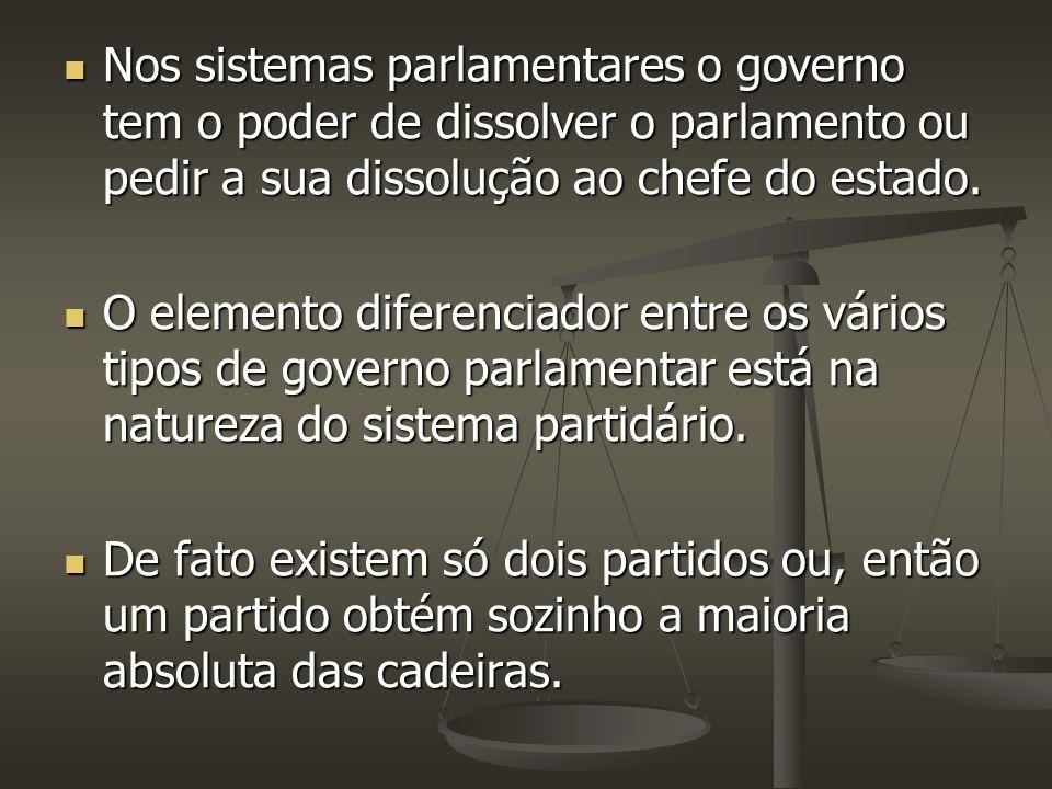 Nos sistemas parlamentares o governo tem o poder de dissolver o parlamento ou pedir a sua dissolução ao chefe do estado. Nos sistemas parlamentares o