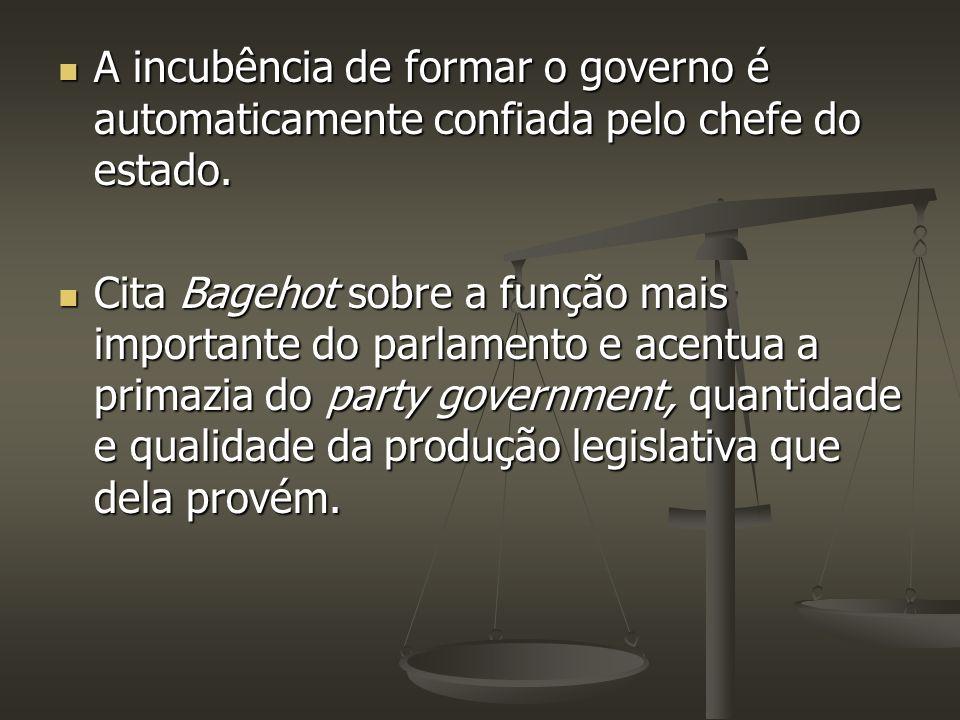 A incubência de formar o governo é automaticamente confiada pelo chefe do estado. A incubência de formar o governo é automaticamente confiada pelo che