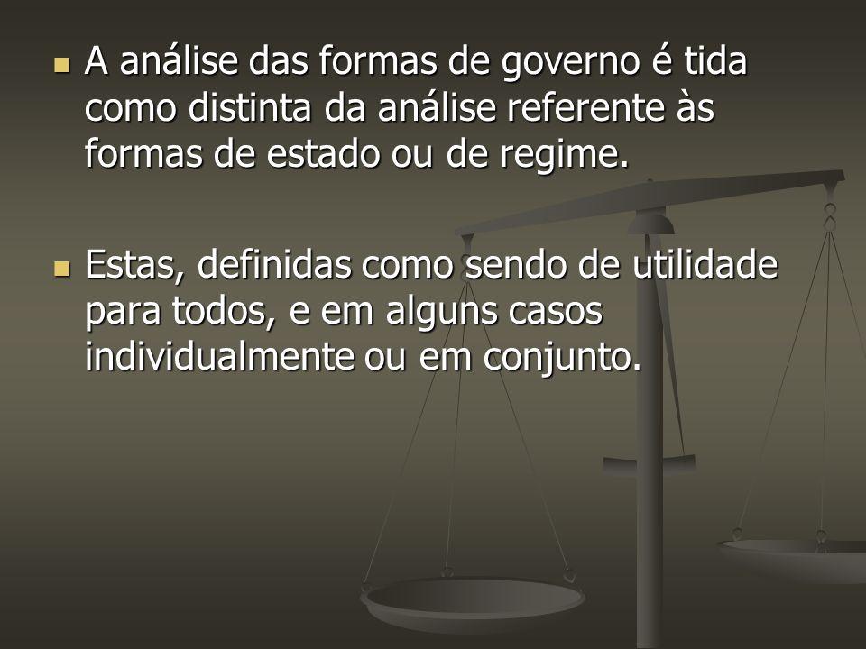 A análise das formas de governo é tida como distinta da análise referente às formas de estado ou de regime. A análise das formas de governo é tida com