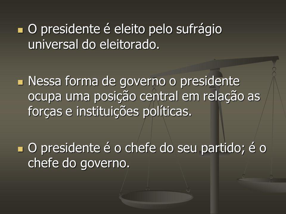 O presidente é eleito pelo sufrágio universal do eleitorado. O presidente é eleito pelo sufrágio universal do eleitorado. Nessa forma de governo o pre
