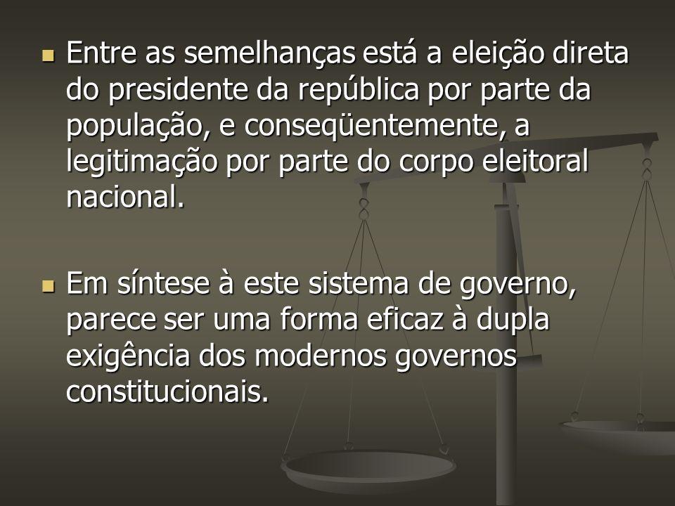 Entre as semelhanças está a eleição direta do presidente da república por parte da população, e conseqüentemente, a legitimação por parte do corpo ele