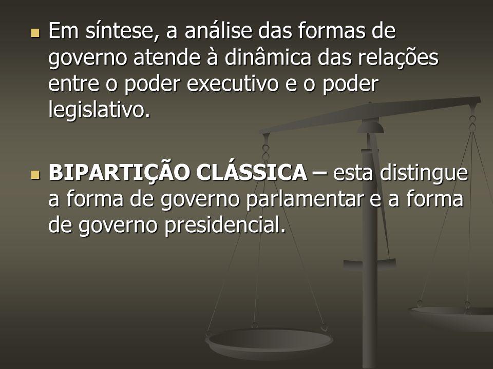 Em síntese, a análise das formas de governo atende à dinâmica das relações entre o poder executivo e o poder legislativo. Em síntese, a análise das fo
