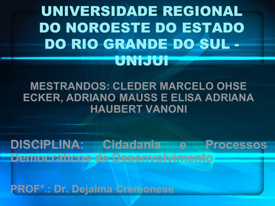 UNIVERSIDADE REGIONAL DO NOROESTE DO ESTADO DO RIO GRANDE DO SUL - UNIJUI MESTRANDOS: CLEDER MARCELO OHSE ECKER, ADRIANO MAUSS E ELISA ADRIANA HAUBERT