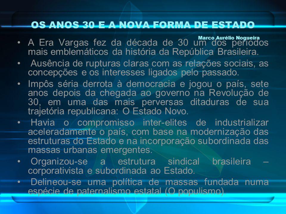 OS ANOS 30 E A NOVA FORMA DE ESTADO Marco Aurélio Nogueira A Era Vargas fez da década de 30 um dos períodos mais emblemáticos da história da República