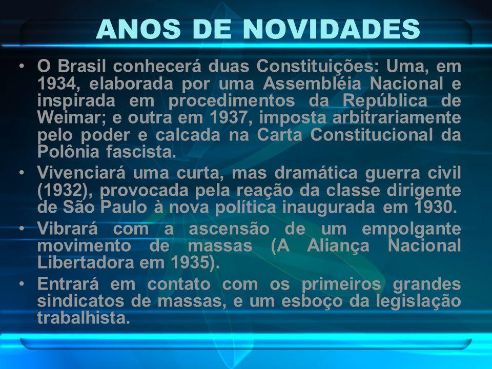 ANOS DE NOVIDADES O Brasil conhecerá duas Constituições: Uma, em 1934, elaborada por uma Assembléia Nacional e inspirada em procedimentos da República