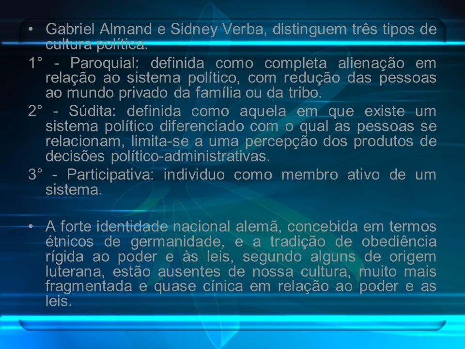 Gabriel Almand e Sidney Verba, distinguem três tipos de cultura política: 1° - Paroquial: definida como completa alienação em relação ao sistema polít
