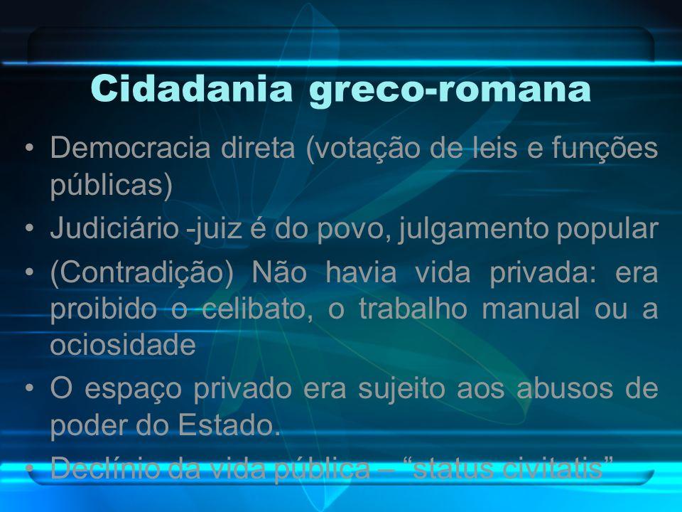 Cidadania greco-romana Democracia direta (votação de leis e funções públicas) Judiciário -juiz é do povo, julgamento popular (Contradição) Não havia v