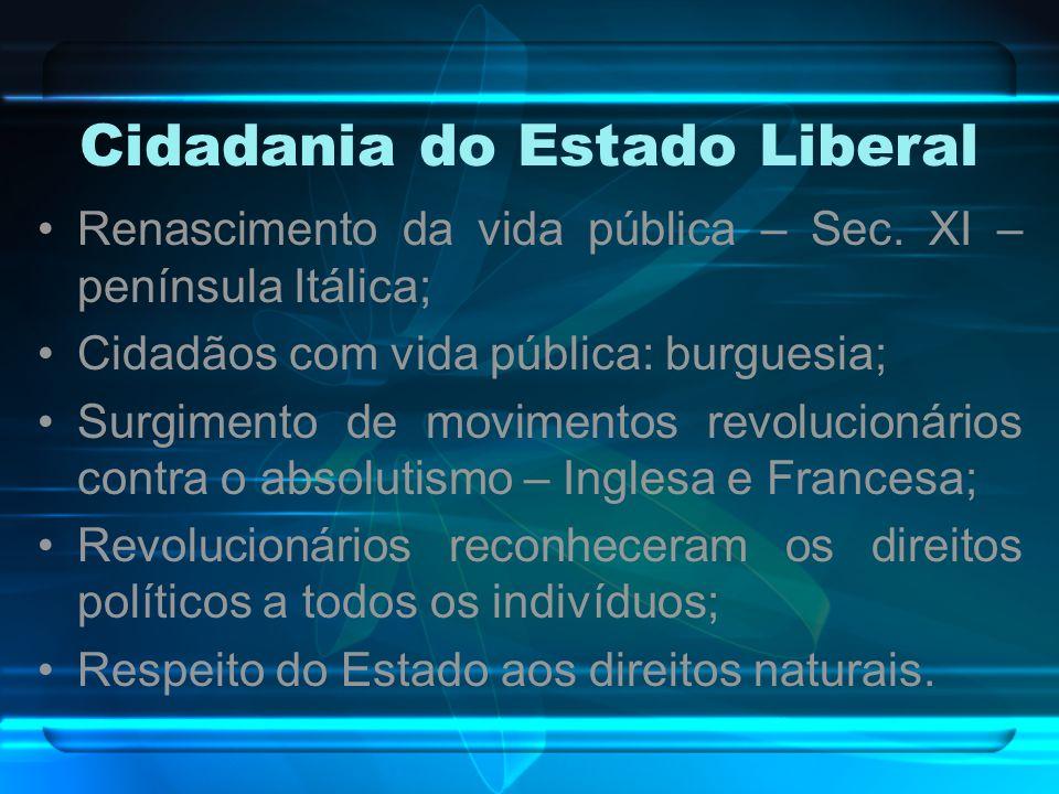 Cidadania do Estado Liberal Renascimento da vida pública – Sec. XI – península Itálica; Cidadãos com vida pública: burguesia; Surgimento de movimentos