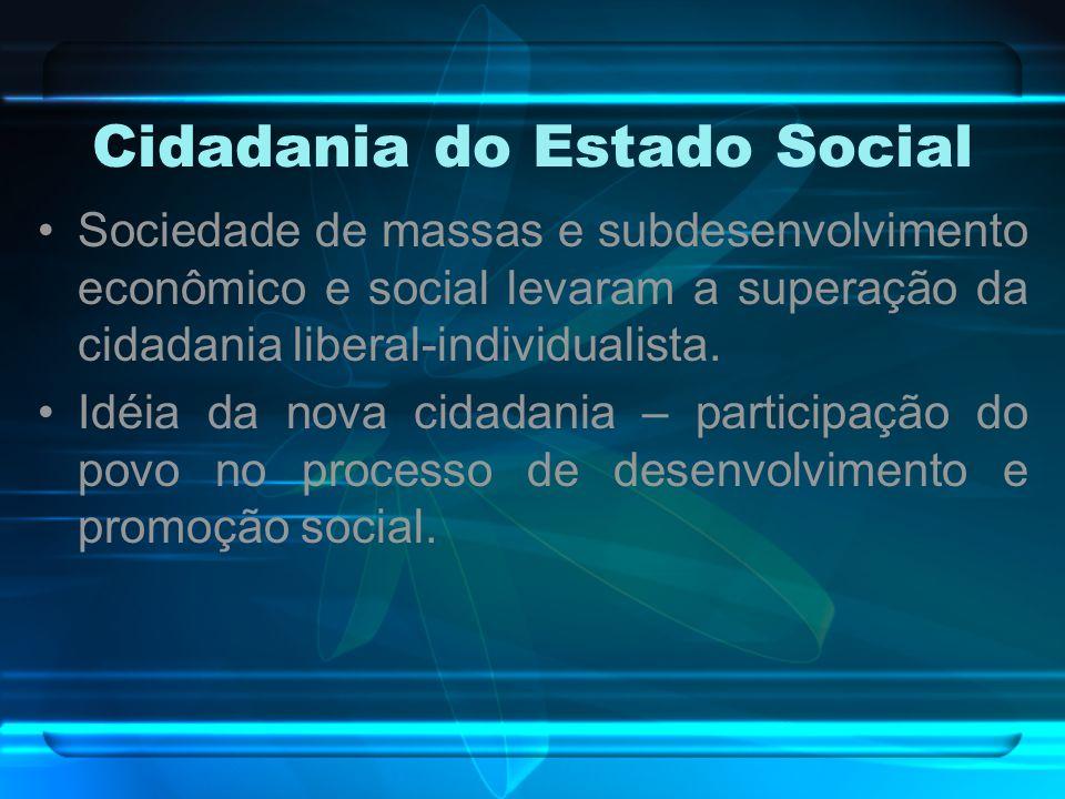 Cidadania do Estado Social Sociedade de massas e subdesenvolvimento econômico e social levaram a superação da cidadania liberal-individualista. Idéia