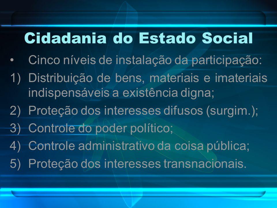 Cidadania do Estado Social Cinco níveis de instalação da participação: 1)Distribuição de bens, materiais e imateriais indispensáveis a existência dign