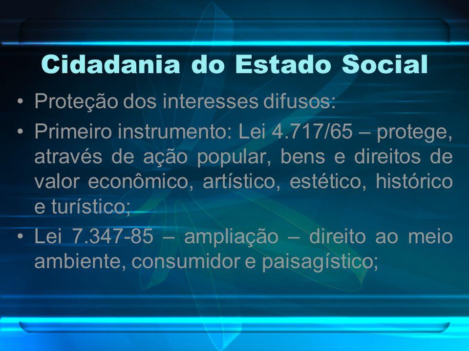Cidadania do Estado Social Proteção dos interesses difusos: Primeiro instrumento: Lei 4.717/65 – protege, através de ação popular, bens e direitos de
