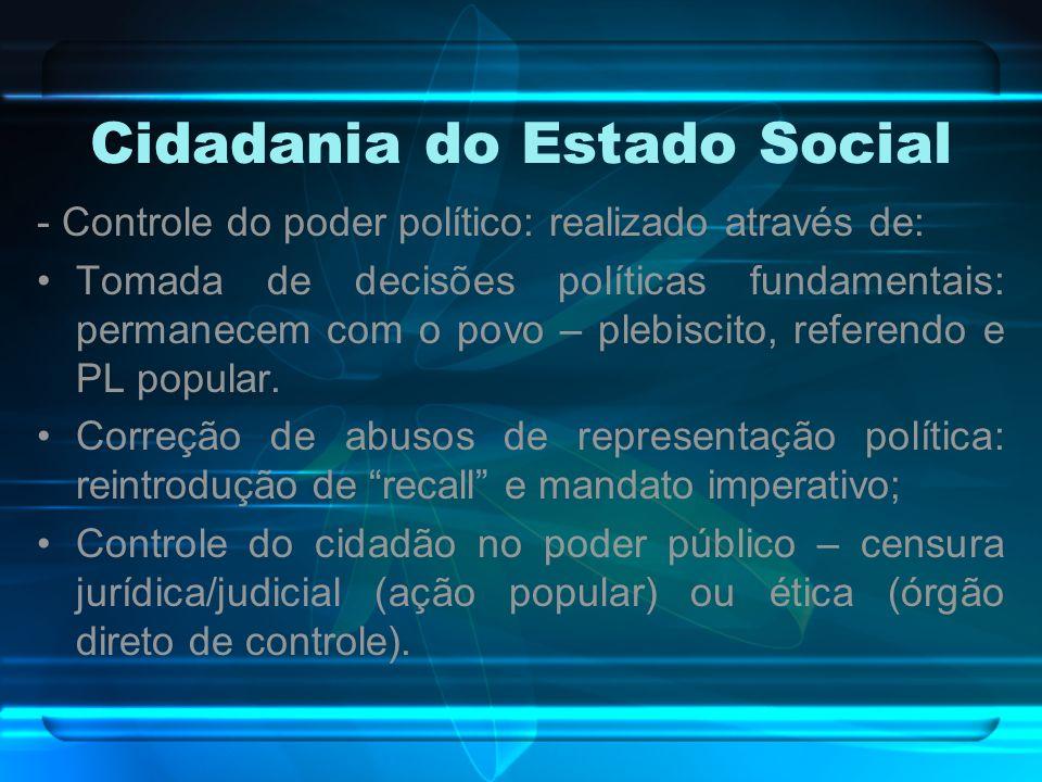 Cidadania do Estado Social - Controle do poder político: realizado através de: Tomada de decisões políticas fundamentais: permanecem com o povo – pleb