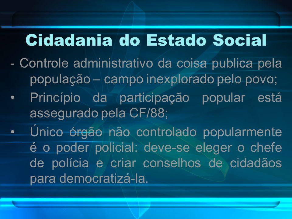 Cidadania do Estado Social - Controle administrativo da coisa publica pela população – campo inexplorado pelo povo; Princípio da participação popular