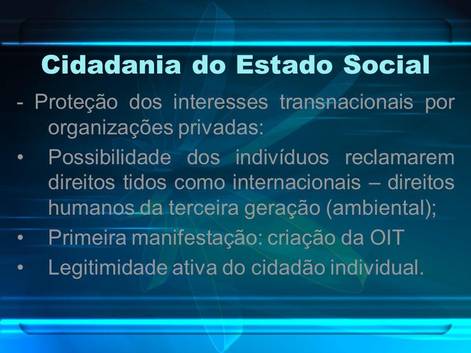 Cidadania do Estado Social - Proteção dos interesses transnacionais por organizações privadas: Possibilidade dos indivíduos reclamarem direitos tidos