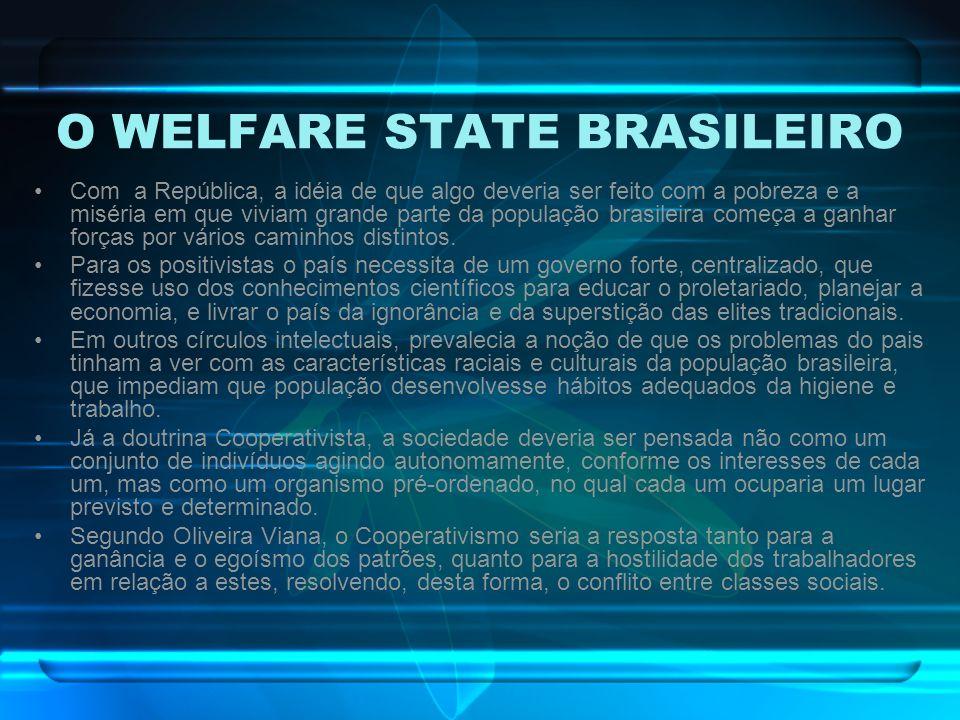 O WELFARE STATE BRASILEIRO Com a República, a idéia de que algo deveria ser feito com a pobreza e a miséria em que viviam grande parte da população br
