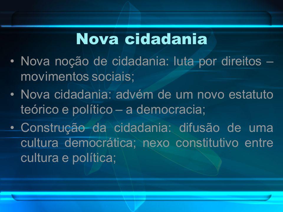 Nova cidadania Nova noção de cidadania: luta por direitos – movimentos sociais; Nova cidadania: advém de um novo estatuto teórico e político – a democ