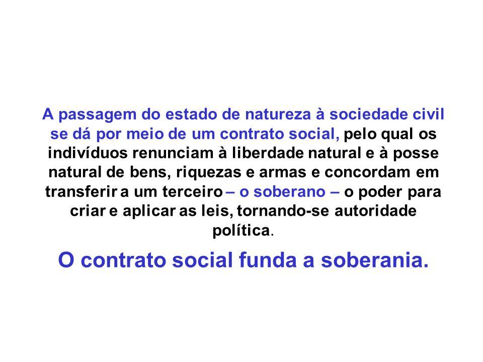 A passagem do estado de natureza à sociedade civil se dá por meio de um contrato social, pelo qual os indivíduos renunciam à liberdade natural e à pos
