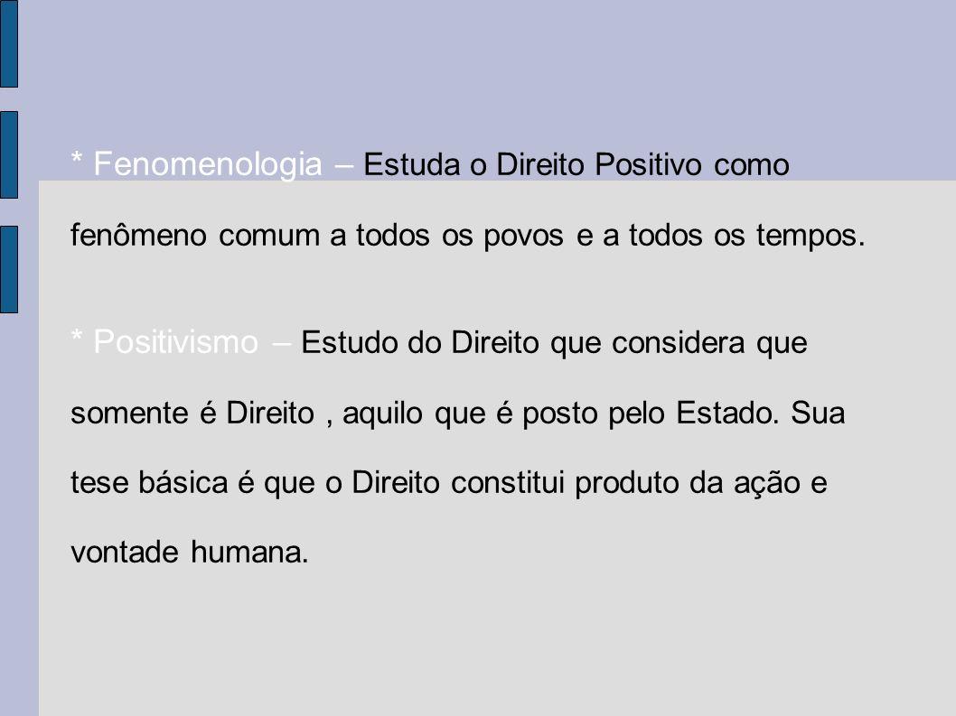 * Fenomenologia – Estuda o Direito Positivo como fenômeno comum a todos os povos e a todos os tempos.