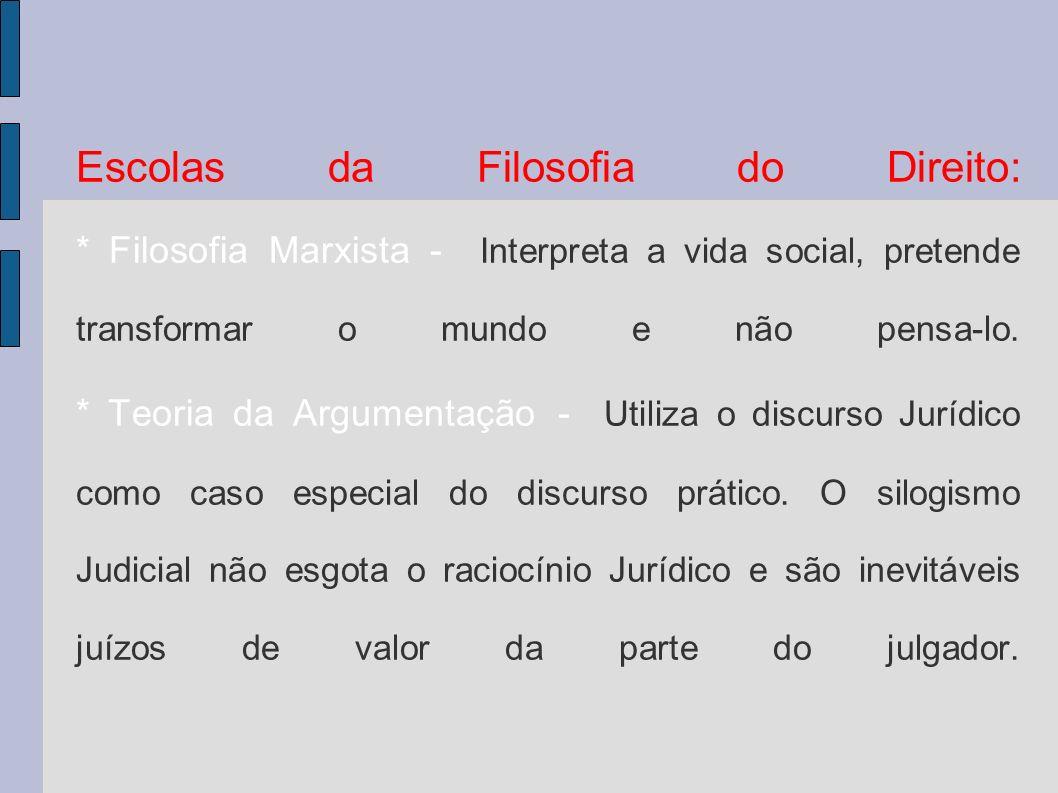 Escolas da Filosofia do Direito: * Filosofia Marxista - Interpreta a vida social, pretende transformar o mundo e não pensa-lo.