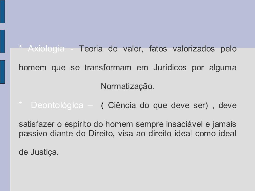 * Axiologia - Teoria do valor, fatos valorizados pelo homem que se transformam em Jurídicos por alguma Normatização.