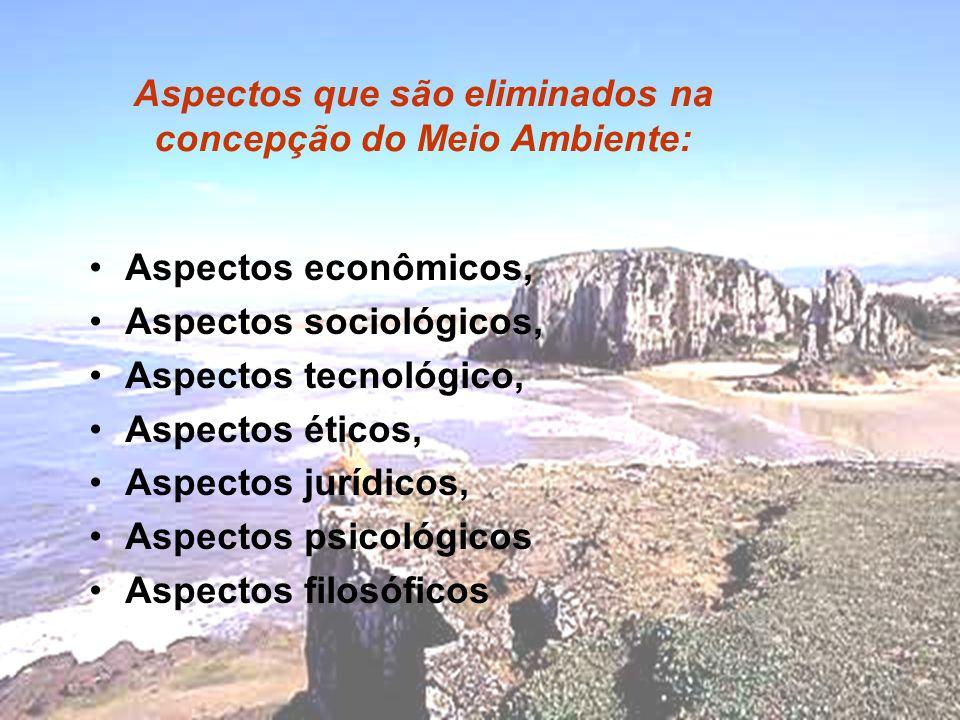 Aspectos econômicos, Aspectos sociológicos, Aspectos tecnológico, Aspectos éticos, Aspectos jurídicos, Aspectos psicológicos Aspectos filosóficos Aspectos que são eliminados na concepção do Meio Ambiente: