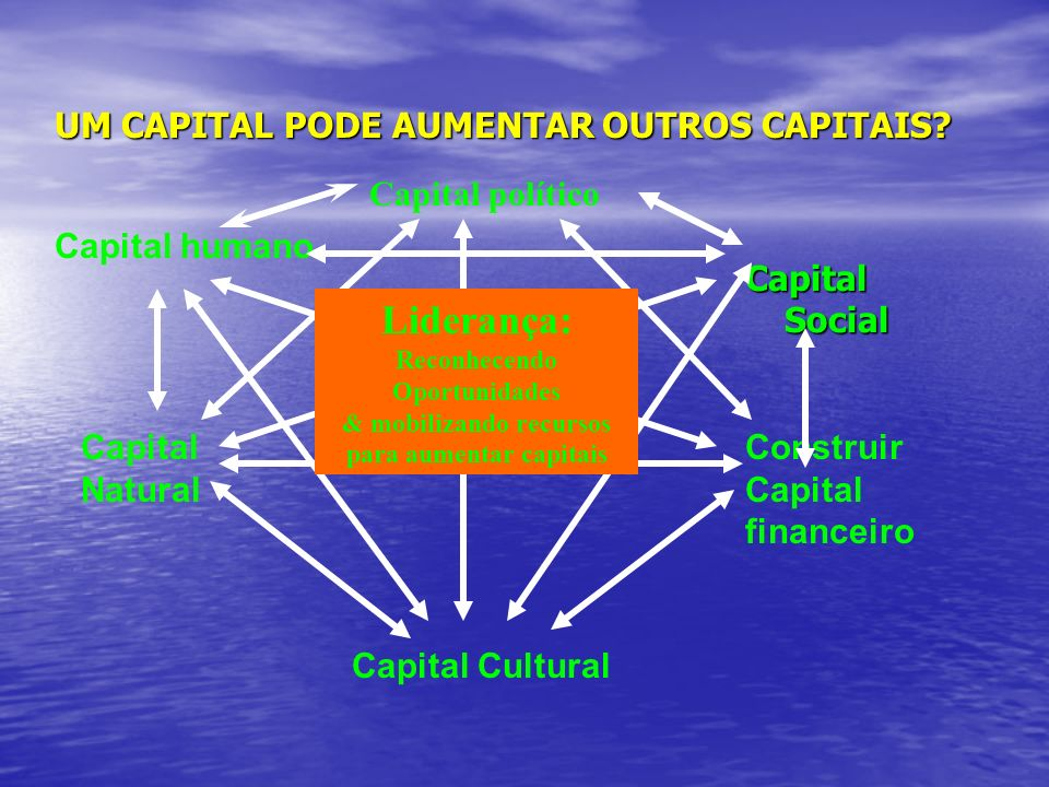 UM CAPITAL PODE AUMENTAR OUTROS CAPITAIS? Capital Social Construir Capital financeiro Capital humano Capital Natural Capital Cultural Capital político