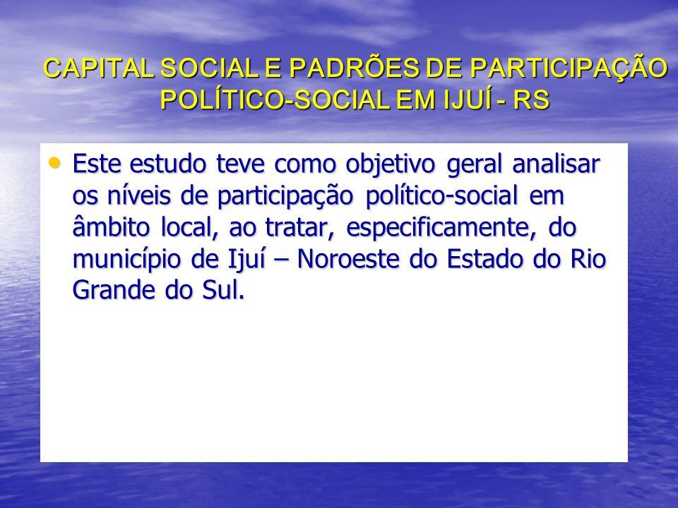 CAPITAL SOCIAL E PADRÕES DE PARTICIPAÇÃO POLÍTICO-SOCIAL EM IJUÍ - RS Este estudo teve como objetivo geral analisar os níveis de participação político-social em âmbito local, ao tratar, especificamente, do município de Ijuí – Noroeste do Estado do Rio Grande do Sul.