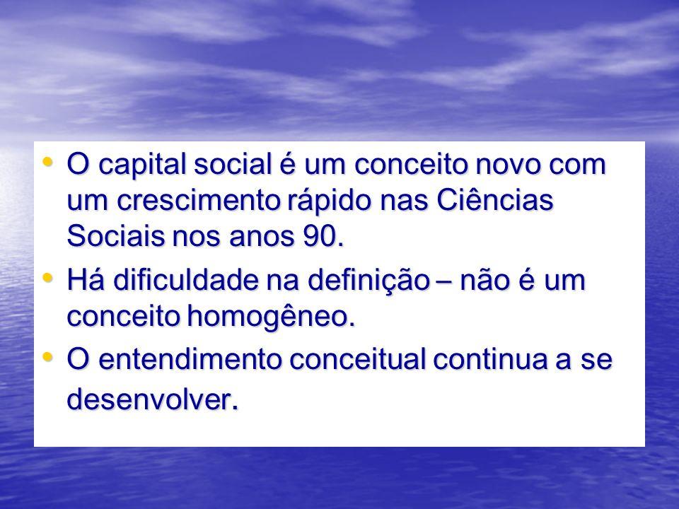 O capital social é um conceito novo com um crescimento rápido nas Ciências Sociais nos anos 90.