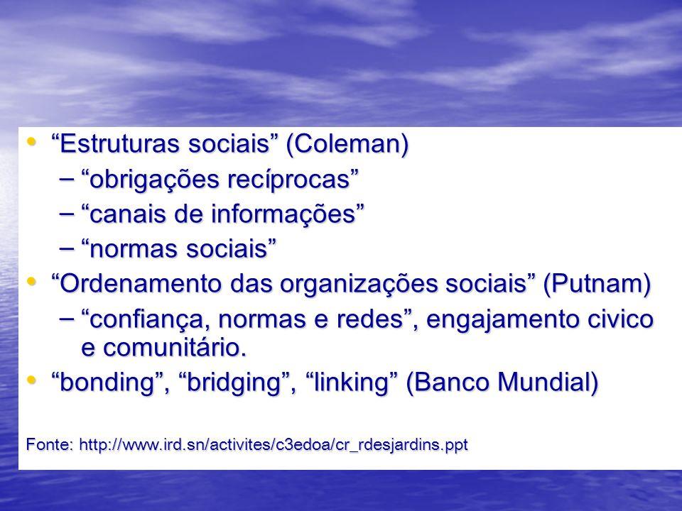 Estruturas sociais (Coleman) Estruturas sociais (Coleman) – obrigações recíprocas – canais de informações – normas sociais Ordenamento das organizações sociais (Putnam) Ordenamento das organizações sociais (Putnam) – confiança, normas e redes, engajamento civico e comunitário.