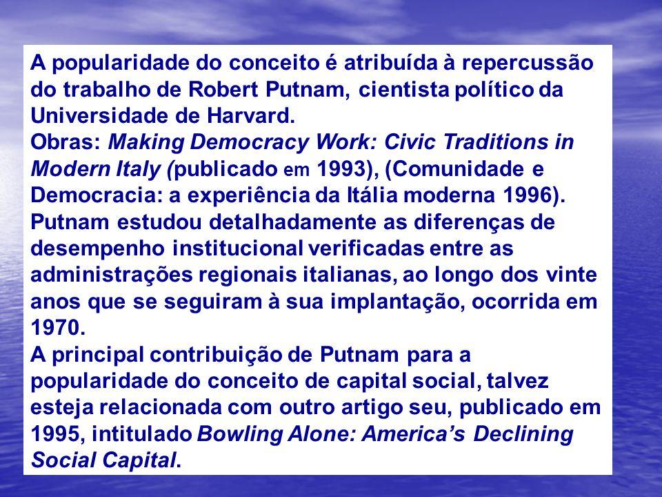 CAPITAL SOCIAL – DEFINI Ç ÃO O capital Social é o envolvimento individual em atividades coletivas, construção de redes de confiança recíproca, construção de virtudes cívicas que possibilitam o fortalecimento da democracia Robert Putnam