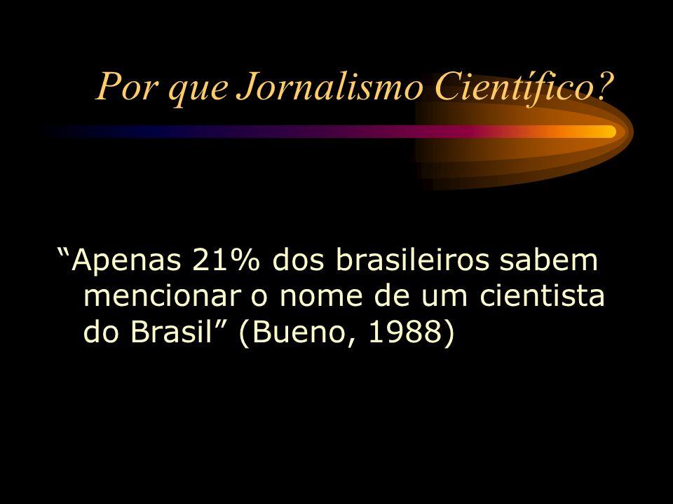 Por que Jornalismo Científico? Apenas 21% dos brasileiros sabem mencionar o nome de um cientista do Brasil (Bueno, 1988)