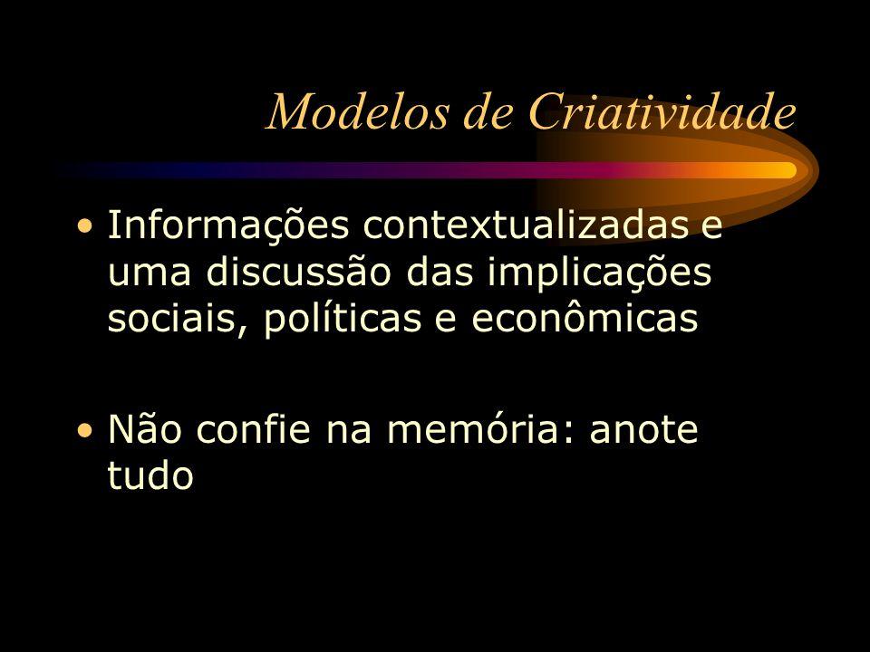 Modelos de Criatividade Informações contextualizadas e uma discussão das implicações sociais, políticas e econômicas Não confie na memória: anote tudo