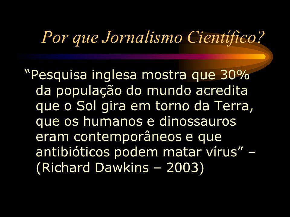 Por que Jornalismo Científico? Pesquisa inglesa mostra que 30% da população do mundo acredita que o Sol gira em torno da Terra, que os humanos e dinos