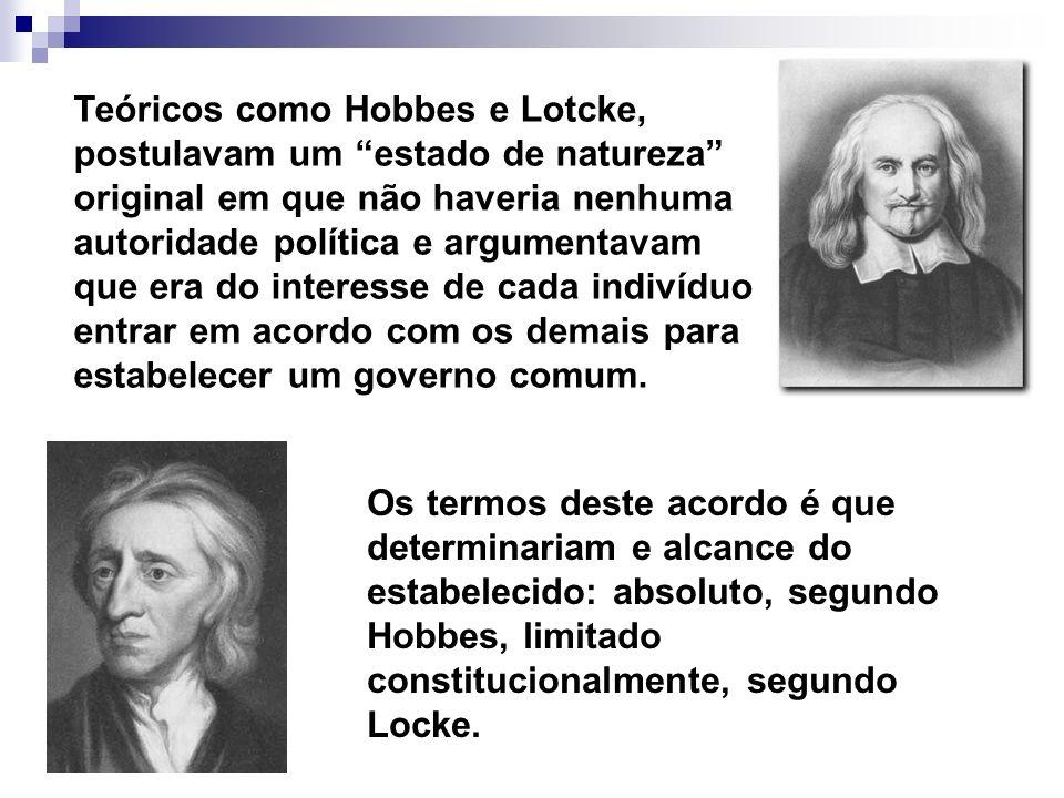 Teóricos como Hobbes e Lotcke, postulavam um estado de natureza original em que não haveria nenhuma autoridade política e argumentavam que era do inte