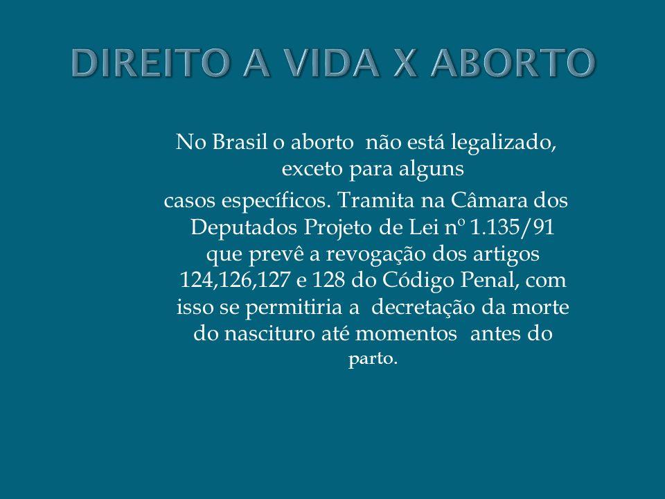 No Brasil o aborto não está legalizado, exceto para alguns casos específicos. Tramita na Câmara dos Deputados Projeto de Lei nº 1.135/91 que prevê a r