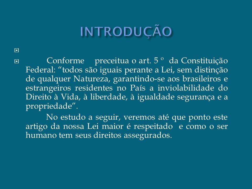 Conforme preceitua o art. 5 º da Constituição Federal: todos são iguais perante a Lei, sem distinção de qualquer Natureza, garantindo-se aos brasileir