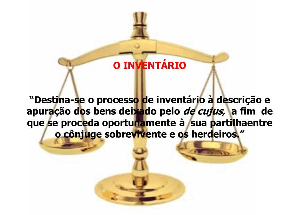 O INVENTÁRIO Destina-se o processo de inventário à descrição e apuração dos bens deixado pelo de cujus, a fim de que se proceda oportunamente à sua pa