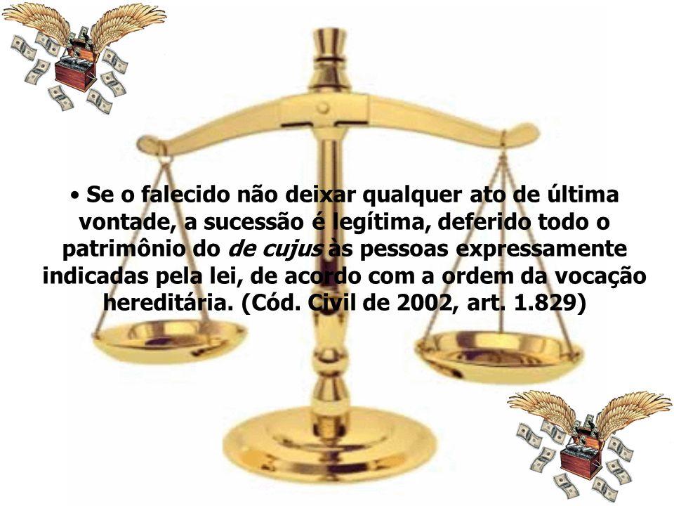 Se o falecido não deixar qualquer ato de última vontade, a sucessão é legítima, deferido todo o patrimônio do de cujus às pessoas expressamente indica