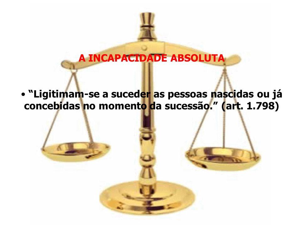 A INCAPACIDADE ABSOLUTA Ligitimam-se a suceder as pessoas nascidas ou já concebidas no momento da sucessão. (art. 1.798)