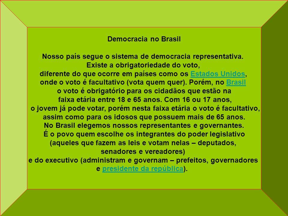 Democracia no Brasil Nosso país segue o sistema de democracia representativa. Existe a obrigatoriedade do voto, diferente do que ocorre em países como